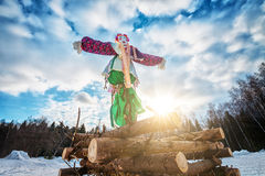 Maslenitsa doll. Doll for burning on Maslenitsa. Maslenitsa is russian traditional celebration held in the spring stock photos