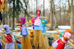 Maslenitsa dolls. During spring holiday of Maslenitsa, an Eastern Slavic religious and folk holiday royalty free stock images