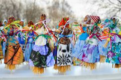 Maslenitsa dolls royalty free stock photography