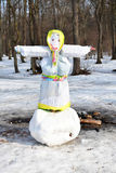 Maslenitsa effigy on a big snowball Royalty Free Stock Photos