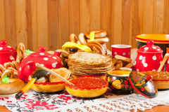 Maslenitsa festival meal Stock Photos
