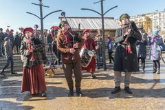 Maslenitsa on Manezh Square. Bagpipers. MOSCOW, RUSSIA - March 02.2019: Free performance of folklore ensemble of bagpipers at the holiday Maslenitsa at Manege royalty free stock photos