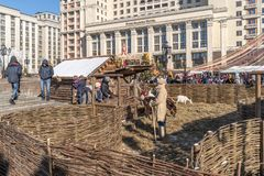 Maslenitsa on Manezh Square. Slavic Metochion. MOSCOW, RUSSIA - March 02.2019: Installation of an ancient Slavic Metochion with real animals. Holiday Maslenitsa royalty free stock images