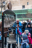Maslenitsa (pancake week). Masterclass from the team of bell ringers Crimson Bells. The Children are trying to ring the bells. Stock Photos