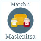 Maslenitsa Poster. March holiday calendar. March 4. Great Ukrainian and Russian Holiday. Pancakes, honey and jam. Vector. stock illustration