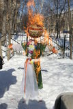 Maslenitsa Russian Doll Carnival - a symbol of winter Stock Photos
