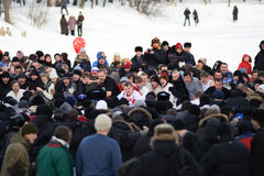 Maslenitsa (Shrovetide) in Russia. Maslenitsa, also known as Butter Week, Pancake week, or Cheesefare Week, is a Russian religious and folk holiday. Maslenitsa Stock Photo
