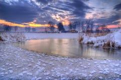 Maslovodam dichtbij Kostinbrod, Bulgarije - de winterbeeld royalty-vrije stock afbeeldingen