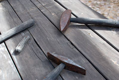 Masnonry utensils. Old masonry utensils displayed in heritage workshop Stock Photo
