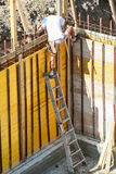 Mason bricklayer or carpenter worker with scale. Job security Stock Images