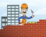 Mason building red brick wall Royalty Free Stock Images