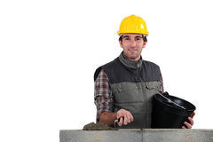 Mason building a wall Stock Photos