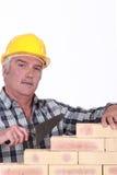 Mason building wall Royalty Free Stock Photos