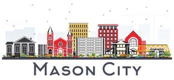 Mason City Iowa Skyline met Kleurengebouwen op Witte B wordt geïsoleerd die Stock Afbeeldingen