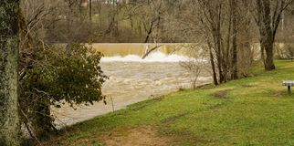 Mason Creek Dam at Flood Stage - 3. Mason Creek Dam at above flood stage located in Roanoke City, Virginia, USA royalty free stock photography