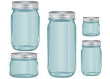 Mason Glass Jars i olika format Fotografering för Bildbyråer