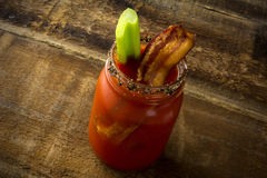 Mason Jar Bacon Bloody Mary Stock Photography