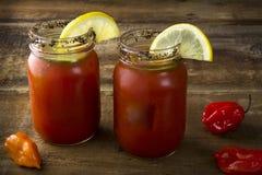 Mason Jar  Bloody Marys Stock Photo