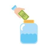 Mason jar bottle with bills Royalty Free Stock Image
