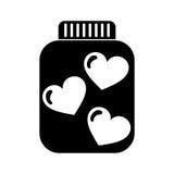 Mason jar bottle with hearts Stock Photo