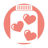 Mason jar bottle with hearts Stock Photography