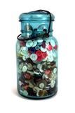 Mason Jar of Buttons. Light blue Mason Jar of Buttons Stock Images