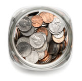 Mason Jar of Coins. Glass Jar Filled with American Coins Royalty Free Stock Images