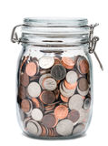 Mason Jar of Coins. Glass Jar filled with U.S. coins Stock Images