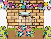 Free Mason Jar Flowers Balls Garland Wall Brick Decoration Royalty Free Stock Images - 162105559