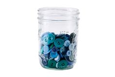 Mason Jar Full of Buttons. Mason Jar of Buttons royalty free stock photo