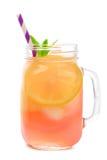 Mason jar glass of pink lemonade isolated on white. Mason jar glass of pink lemonade with straw isolated on a white background Stock Photos