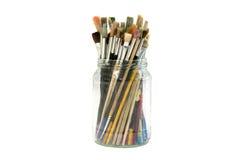 Mason Jar-hoogtepunt met penselen Royalty-vrije Stock Afbeelding