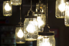 Mason Jar Lightbulbs Royalty Free Stock Photography