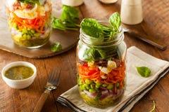 Mason Jar Salad casalingo in buona salute fotografia stock