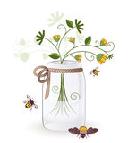 Mason Jar weeds bees. Mason jar with bees and a bouquet of weeds Stock Photos