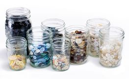 Mason Jars with Buttons. Mason Jars full of Buttons stock images