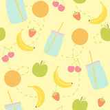 Mason jars and fruits seamless pattern royalty free illustration