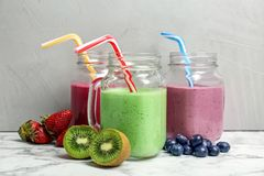 Mason jars with healthy detox smoothies Stock Photo