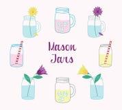 Mason Jars Set disegnato a mano Fotografia Stock