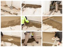 Mason make a cement screed Royalty Free Stock Images