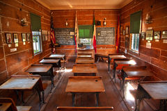 Mason Street Elementary School Old San Diego. Old Mason Street Elementary School, Wooden Desks, Old San Diego, California. One of the first elementary schools in stock photos