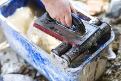 Mason with trowel Stock Image