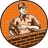 Mason worker brick layer trowel Royalty Free Stock Photos