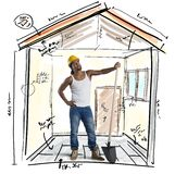 Mason working on a new construction Stock Image