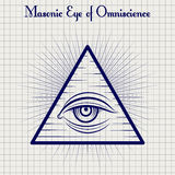 Masonic глаз эскиза Omniscience Стоковые Фото