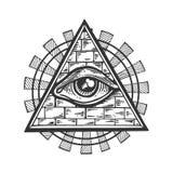 Masonic иллюстрация вектора гравировки символа Стоковая Фотография
