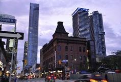 Toronto, 24th June: Downtown Building on Yonge Street by night from Toronto of Ontario Province in Canada. Masonic Hall on Downtown on Yonge Street by night from Royalty Free Stock Photography