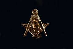 Masonic Lapel Pin on Black Royalty Free Stock Image