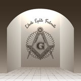Masonic sign in arch. With stone floor vector illustration. Liberte Egalite Fraternite Royalty Free Stock Images