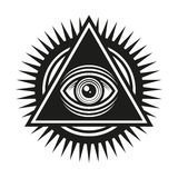 Masonic Symbol. All Seeing Eye Inside Pyramid Triangle Icon. Vector Royalty Free Stock Images